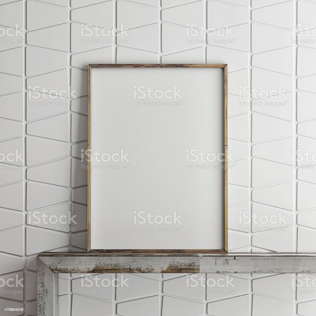 mock up poster on pattern wall, 3d illustration stock photo