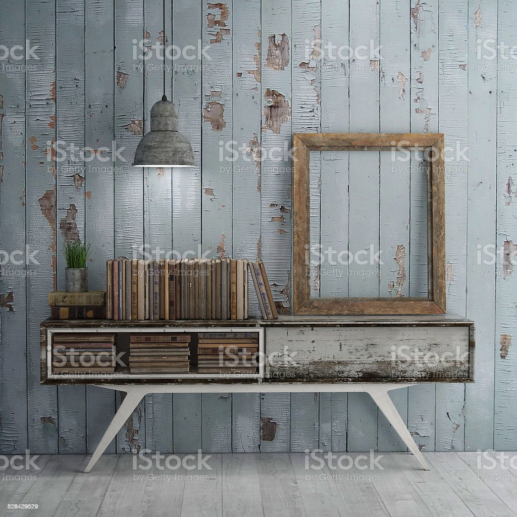 Mock up poster on table in room, old books stock photo