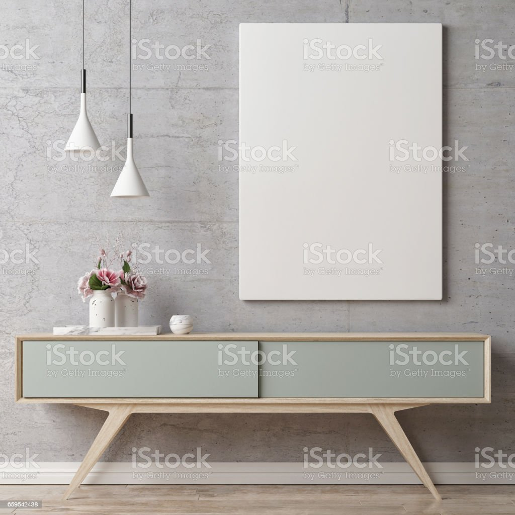 Mock up poster on table in room stock photo