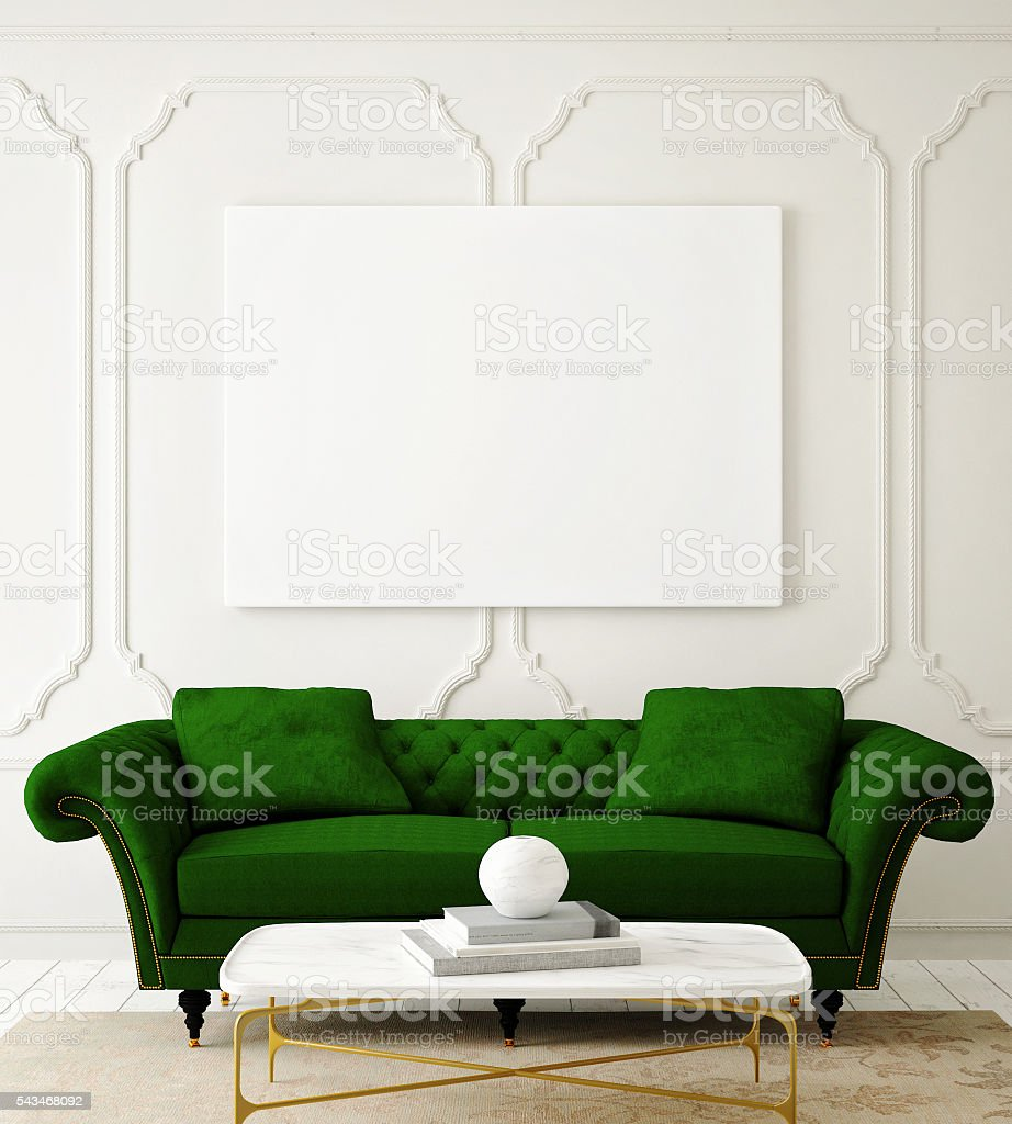 mock up  poster on the wall of hipster living room stock photo