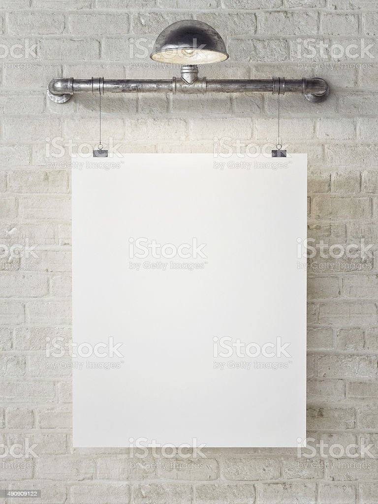 Mock up poster on white brick wall, retro style stock photo