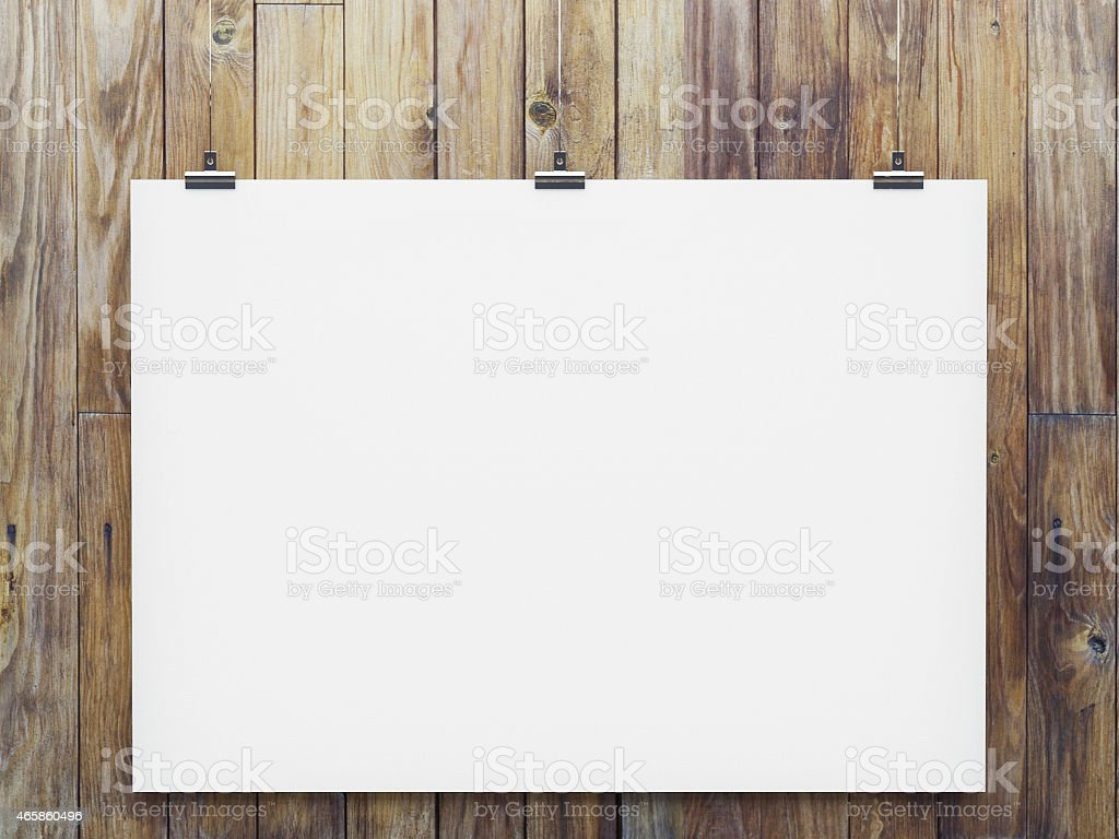 mock up poster on woden wall stock photo