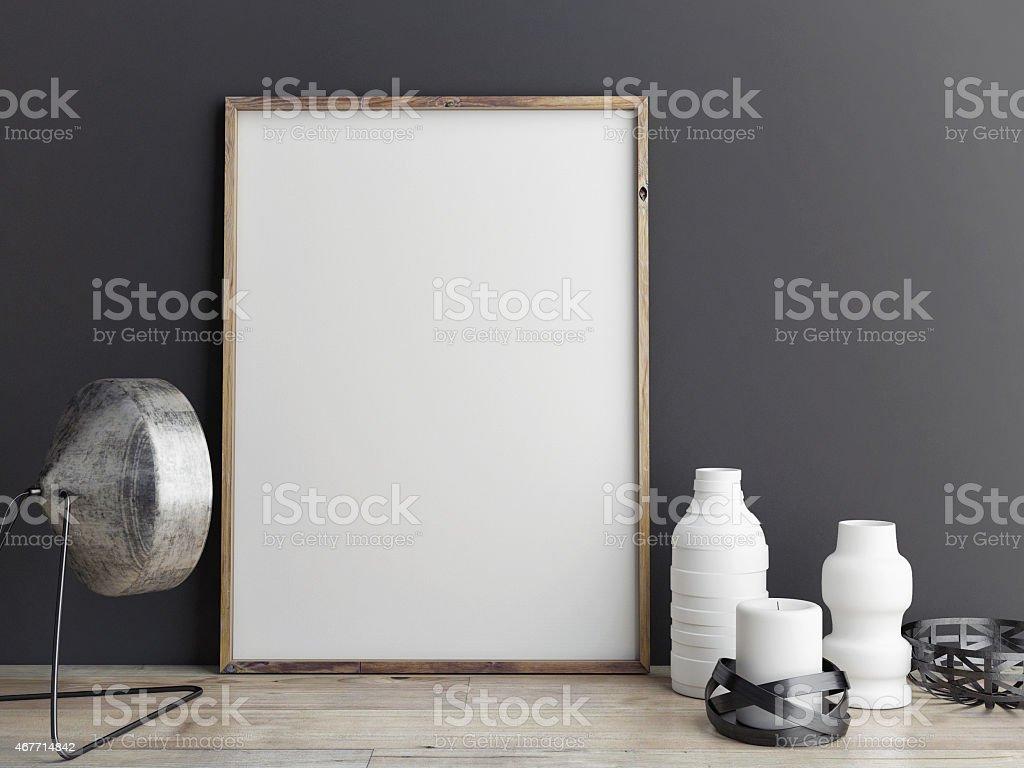 mock up poster on wooden floor stock photo