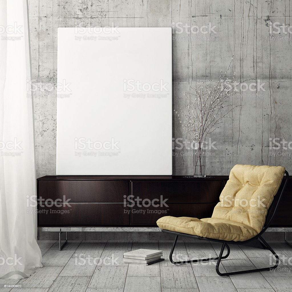 Mock up poster, retiring room stock photo