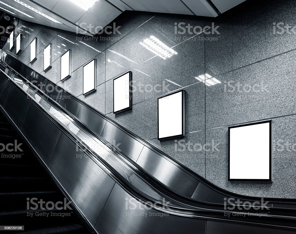 Mock up Poster template Ads display in Subway station stock photo