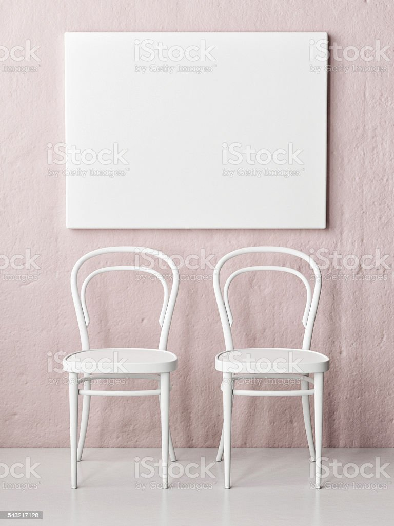 Mock up poster, two chairs in front of rose wall, stock photo