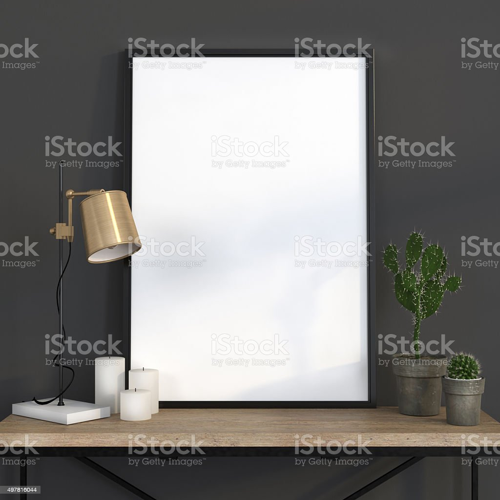 Mock up poster with a golden lamp vector art illustration