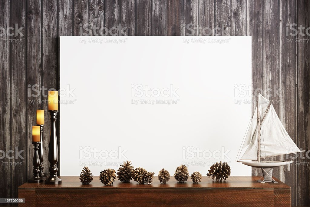 Mock up poster with candles and a rustic wood background stock photo