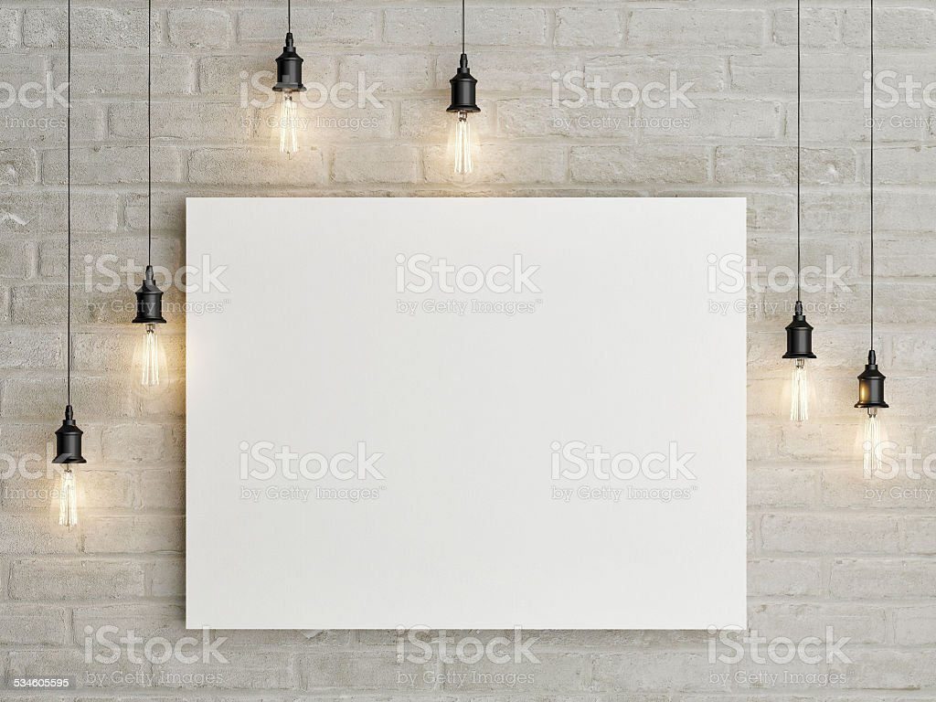 Mock up poster with ceiling lamps, 3d illustraton stock photo