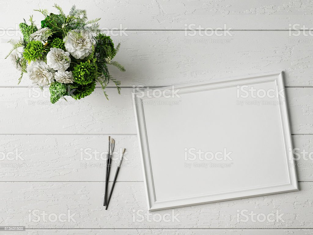 Mock up poster with glamour flowers stock photo