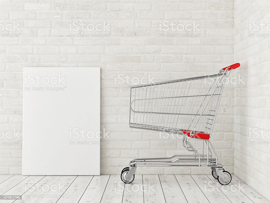 Mock up poster with shopping trolley, stuck space, 3d illustration stock photo