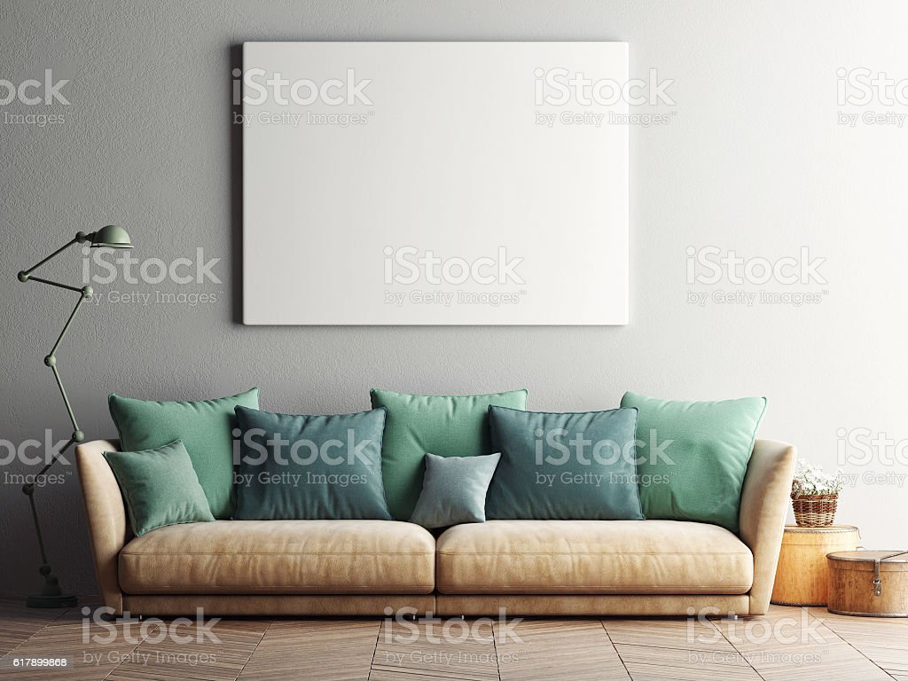 Mock up poster with vintage hipster loft interior background stock photo