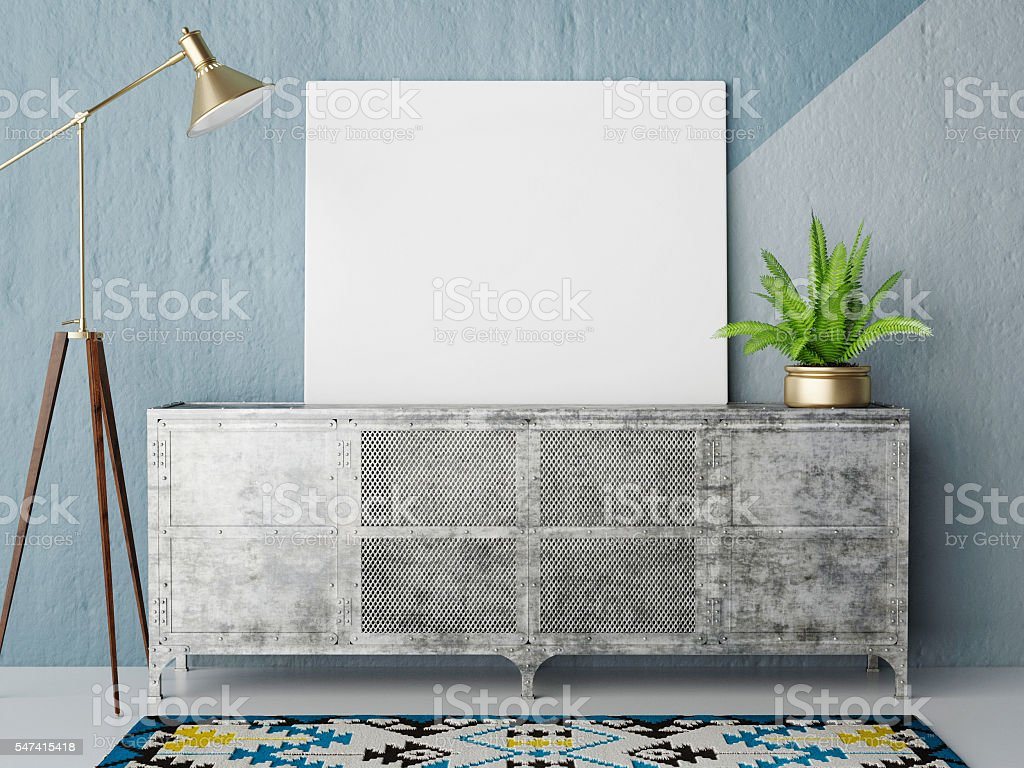 Mock up posteron retro chest of drawers, hipster interior background stock photo