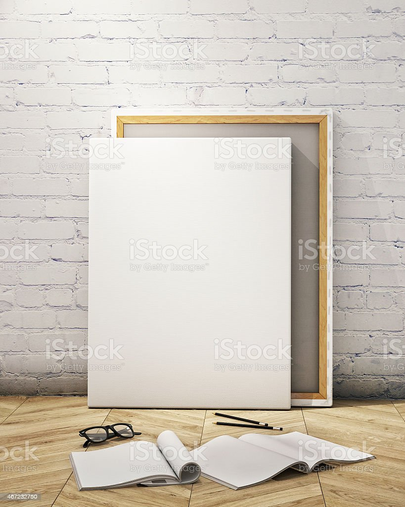 mock up posters frames and canvas in loft interior background stock photo