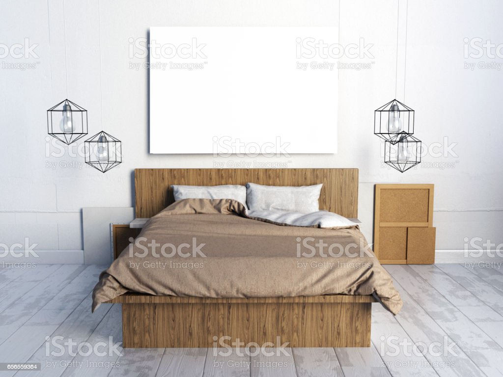Mock ups of one bedroom two bedroom and three bedroom apartments - Mock Up Posters In Bedroom Interior Bedroom Hipster Style 3d Illustration Royalty Free