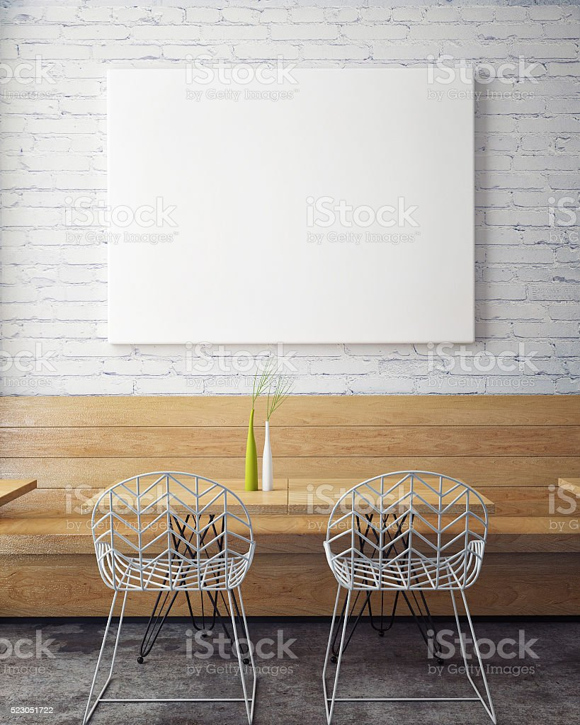 mock up posters with retro hipster cafe restaurant interior background stock photo