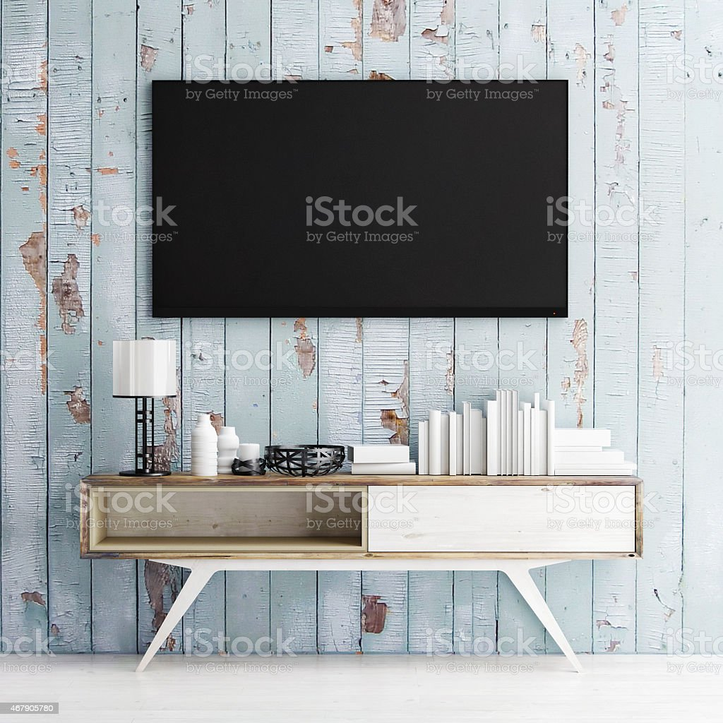 mock up tv on wooden wall, 3d illustration stock photo