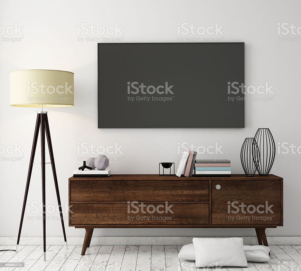 mock up tv screen with loft interior background, 3D render stock photo