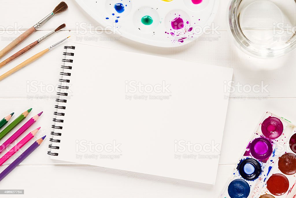 Mock up with artistic tools on white table stock photo