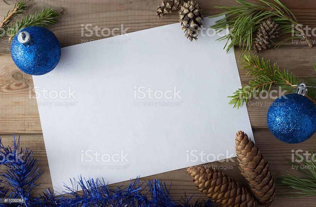 mock up with cones, Christmas ball stock photo