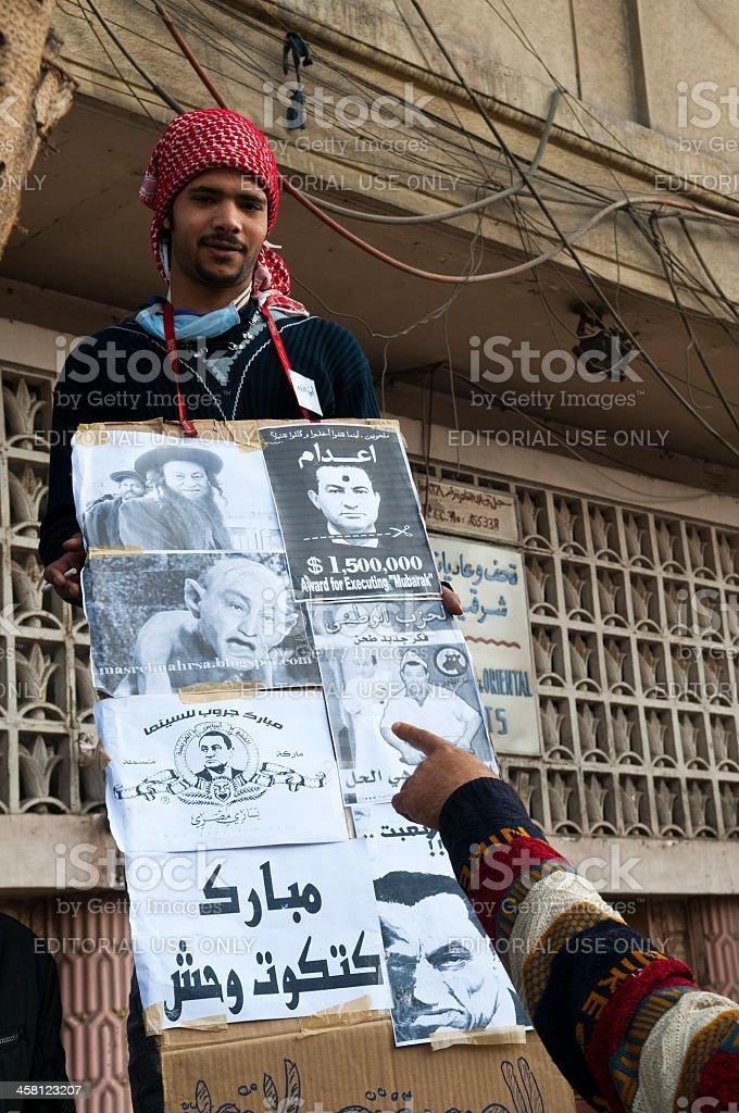 Mocking Mubarak in Tahrir Square royalty-free stock photo