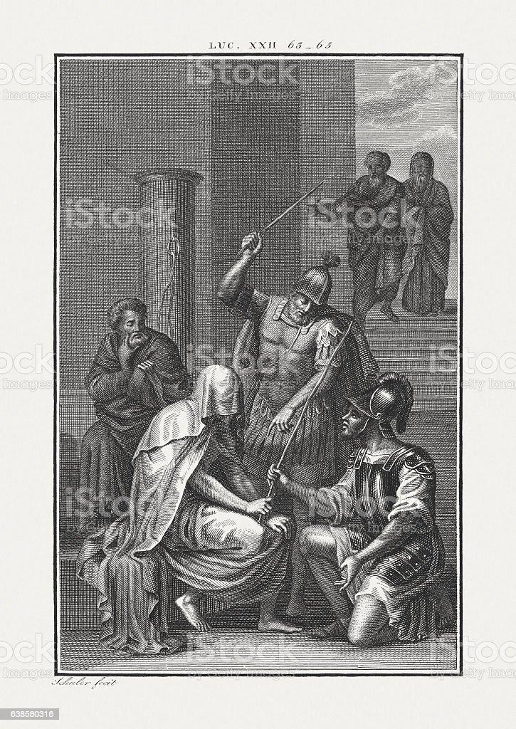 Mocking of Jesus (Luke 22, 64), copper engraving, published c.1850 stock photo