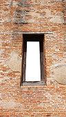 Mockup blank clear frame template ancient brick door window