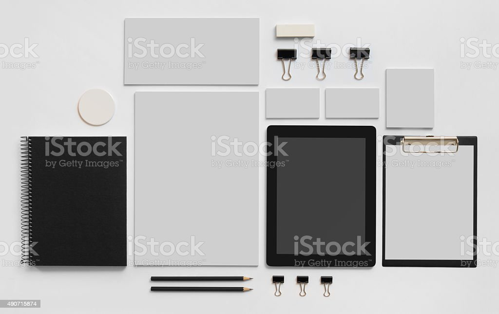 Mock-up branding template with tablet on white stock photo