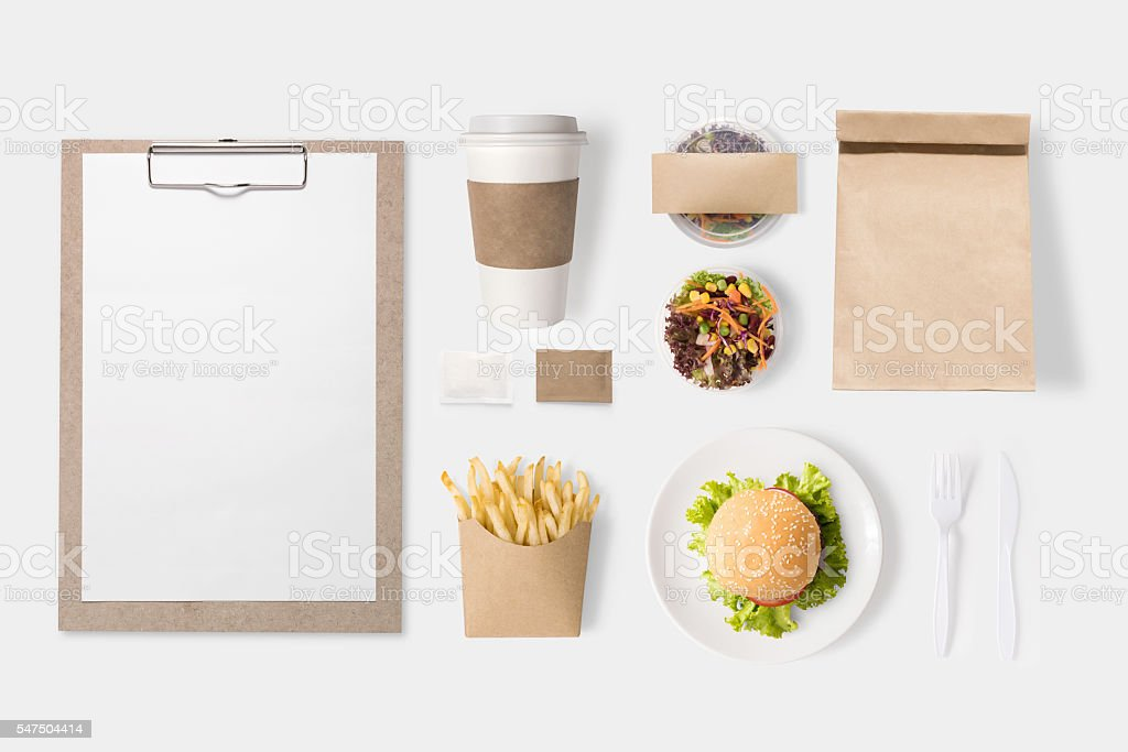 Mockup burger, salad, coffee cup, french fries set isolated stock photo