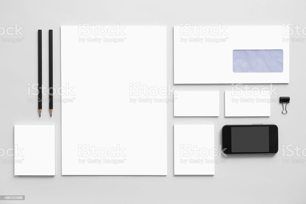 Mock-up business branding template on gray background stock photo