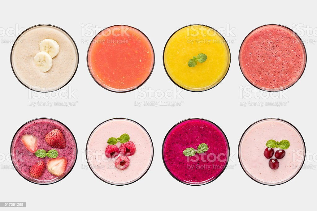 Mockup fruit smoothie and fruit juice set isolated. stock photo