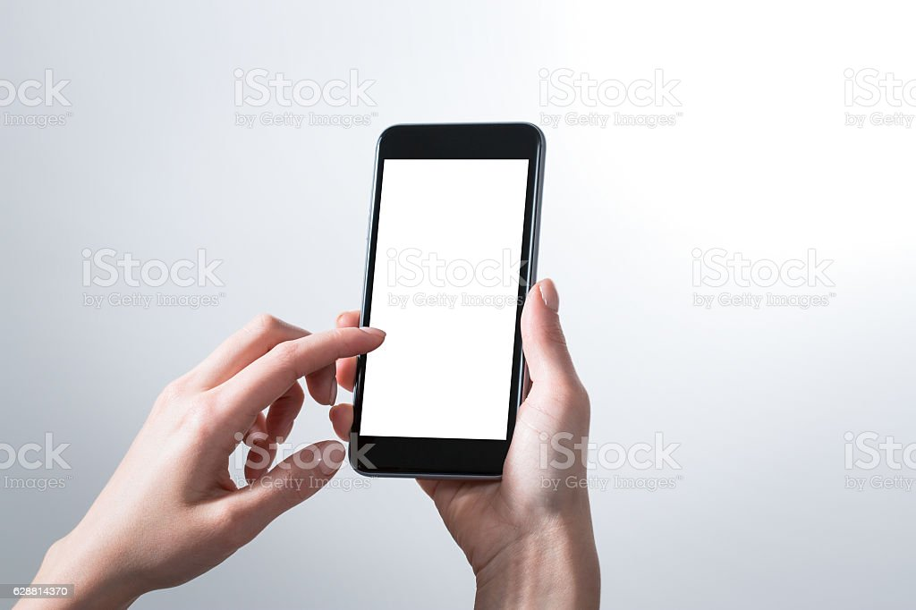 mockup hands phone mock up screen holding display blank white stock photo