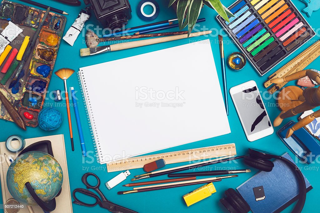 Mockup image with blank sketchbook stock photo
