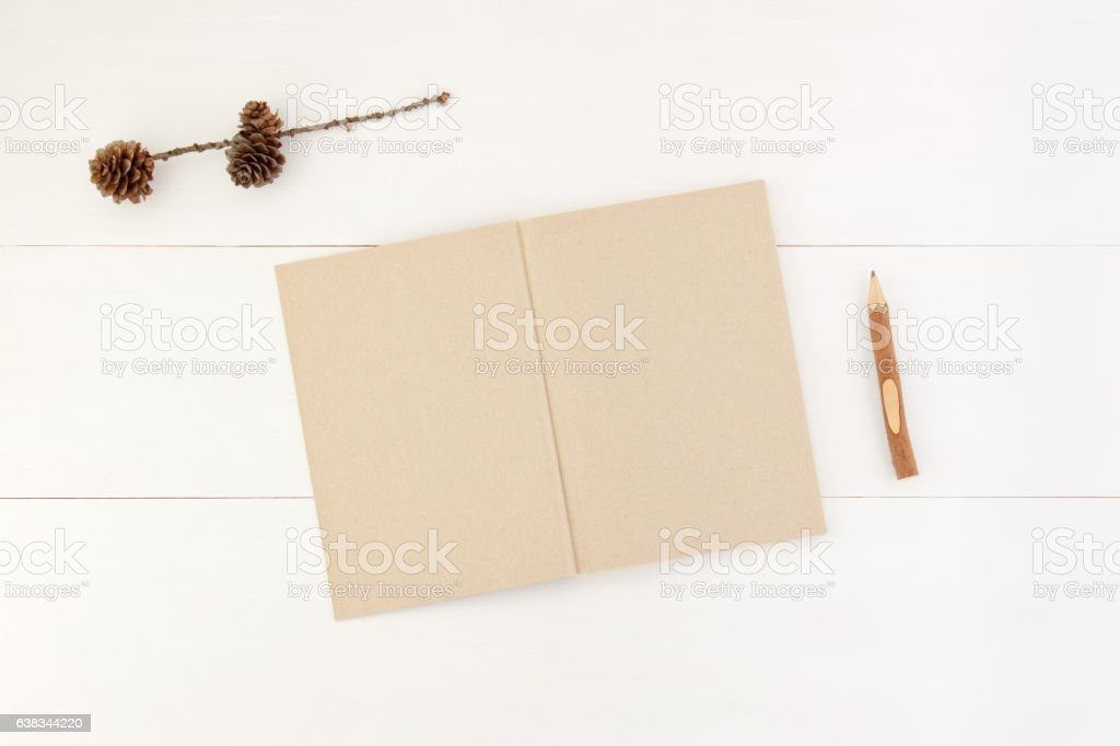 Mockup. Notepad, pencil and fir cone on white wooden background stock photo