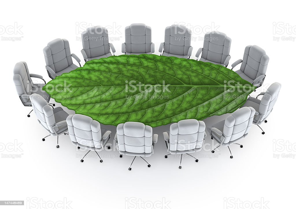 Mockup of an Eco-friendly boardroom royalty-free stock photo