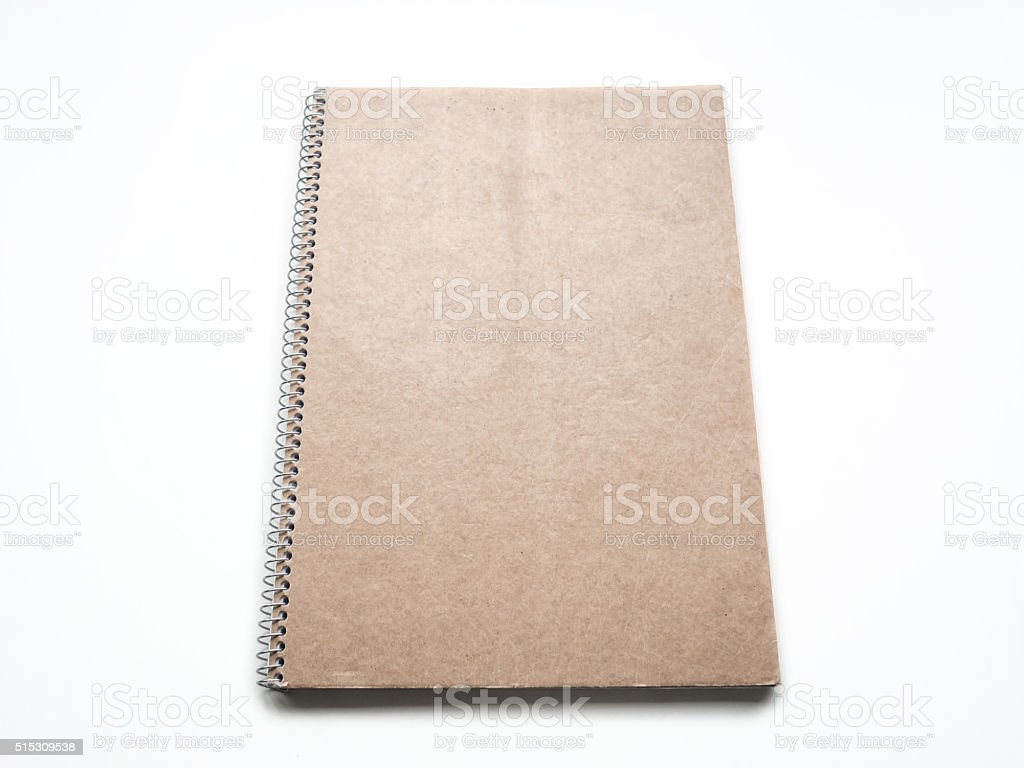 Mockup of Blank notebook with kraft cardboard cover and spiral stock photo