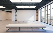 Mockup of light empty exhibition gallery with bench. Concrete floor