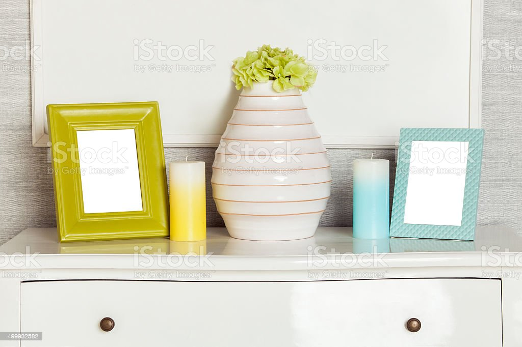 Mockup of phto frame on the modern drawer stock photo
