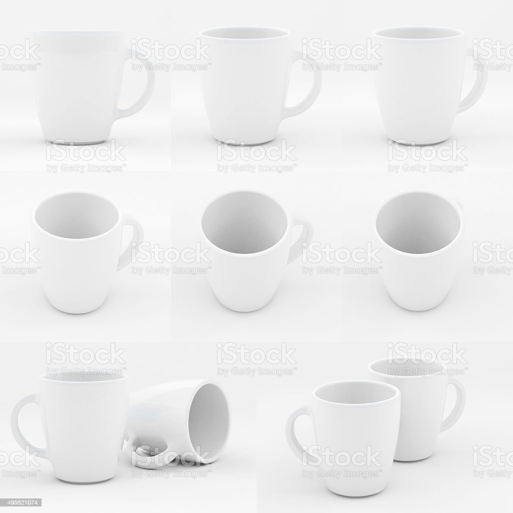 Mockup of white china cup stock photo