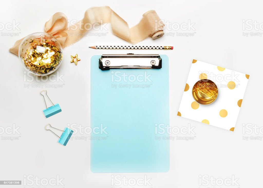 Mockup planner flat lay. Accessory on the table. View top. White background, still life. Events and party desktop. Feminine scene. stock photo