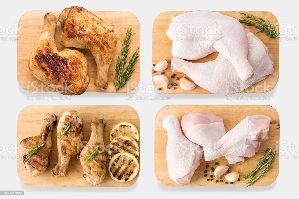 Mockup raw chicken and grilled chicken on cutting board set. stock photo