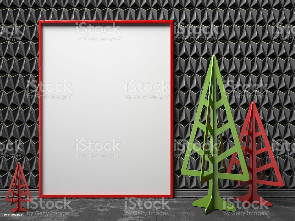 Mock-up red canvas frame, and Christmas trees. 3D stock photo