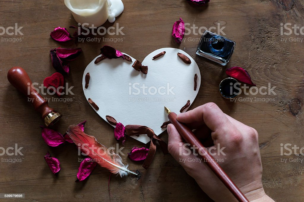 mock-up with heart-shape paper stock photo