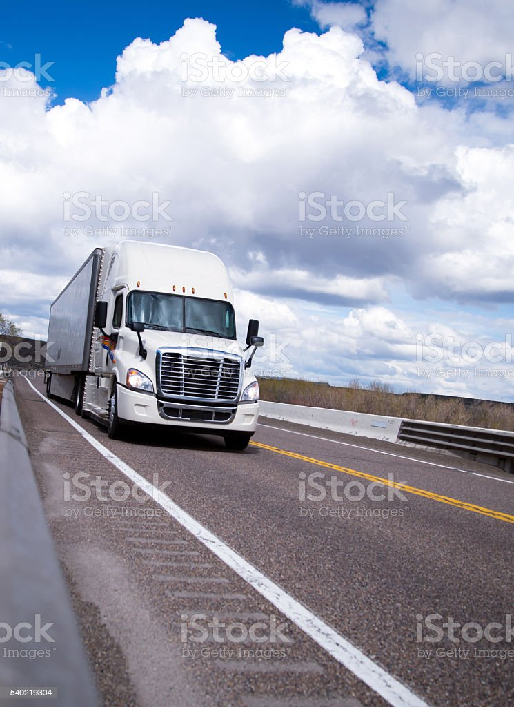 Mod semi truck speed move on safety highway stock photo
