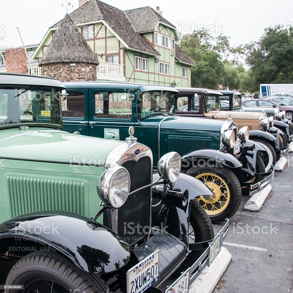 Model A Fords in Solvang stock photo