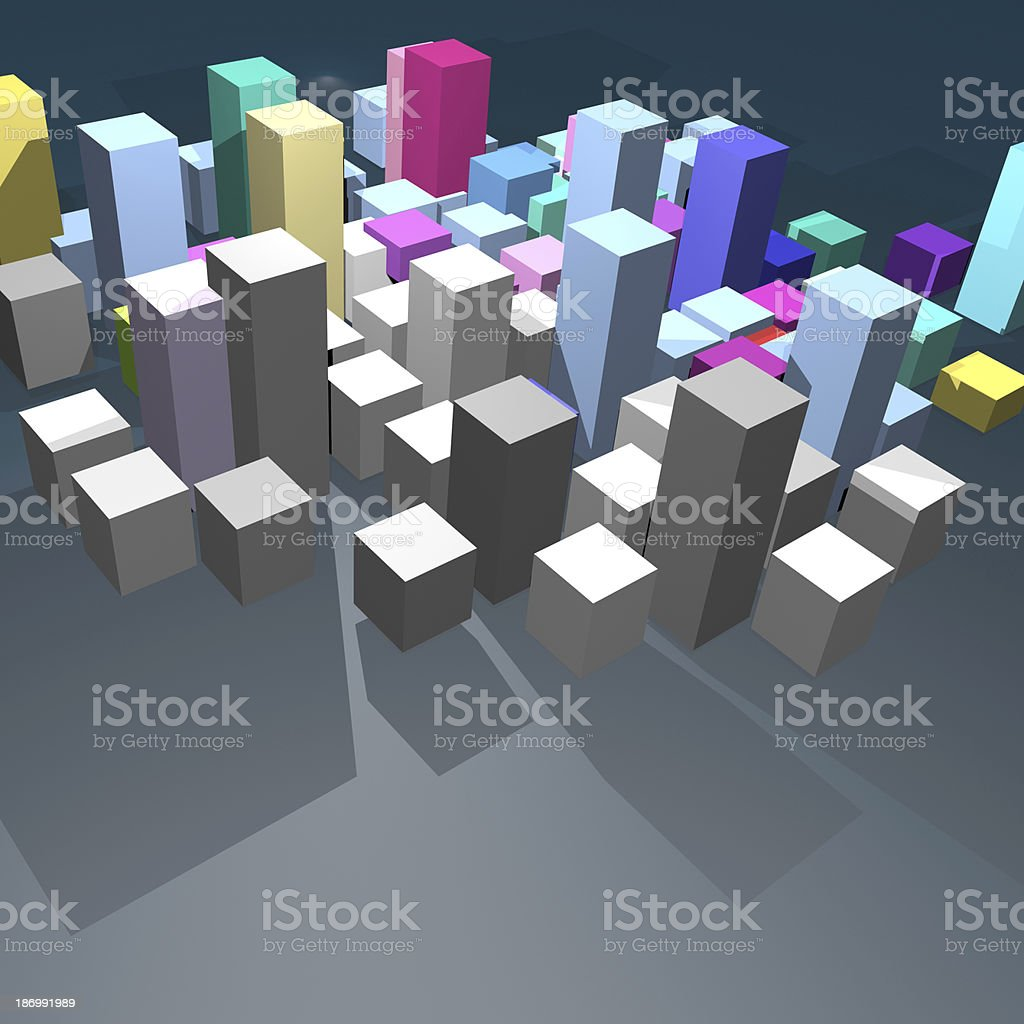 3D model abstract building royalty-free stock photo