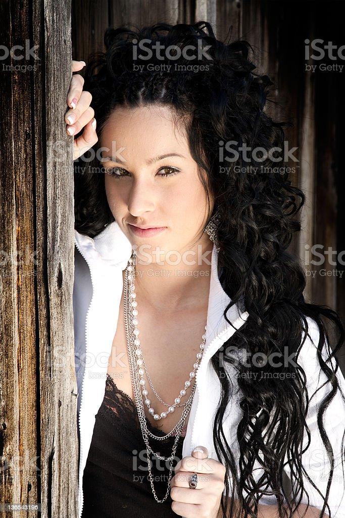model against barn royalty-free stock photo