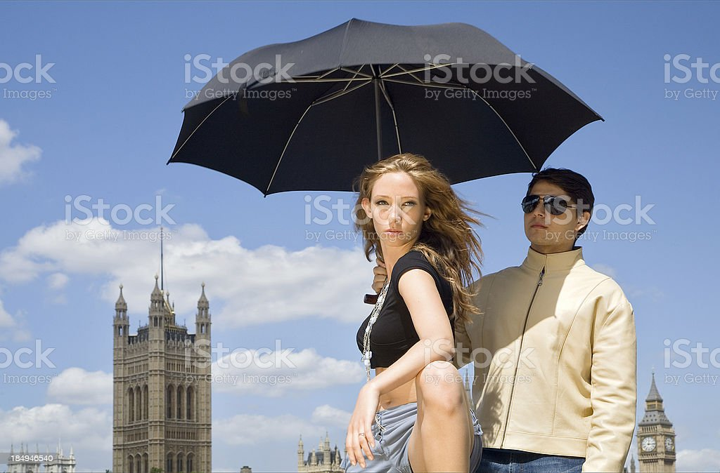 Model and bodyguard royalty-free stock photo