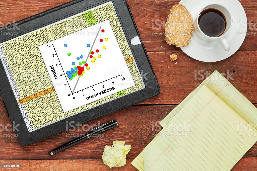 model and observation data stock photo