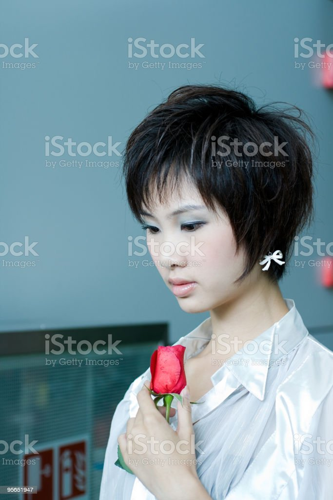 model and rose stock photo